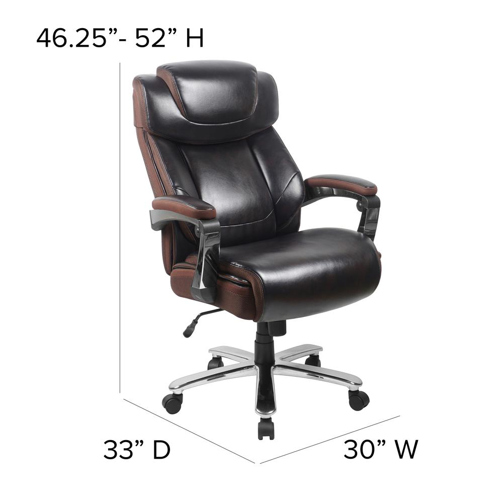 Big & Tall 500 lb. Rated Brown LeatherSoft Executive Swivel Ergonomic Office Chair with Adjustable Headrest. Picture 2