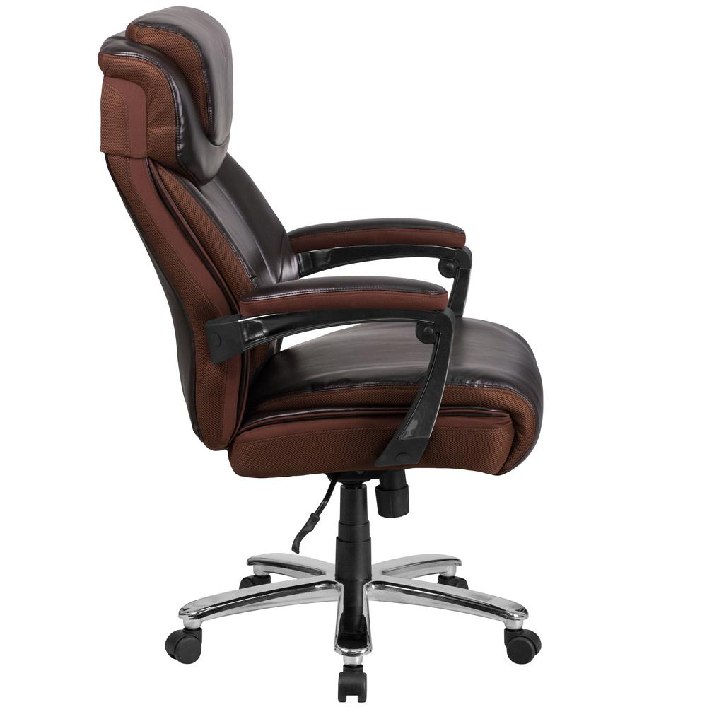 Big & Tall 500 lb. Rated Brown LeatherSoft Executive Swivel Ergonomic Office Chair with Adjustable Headrest. Picture 3