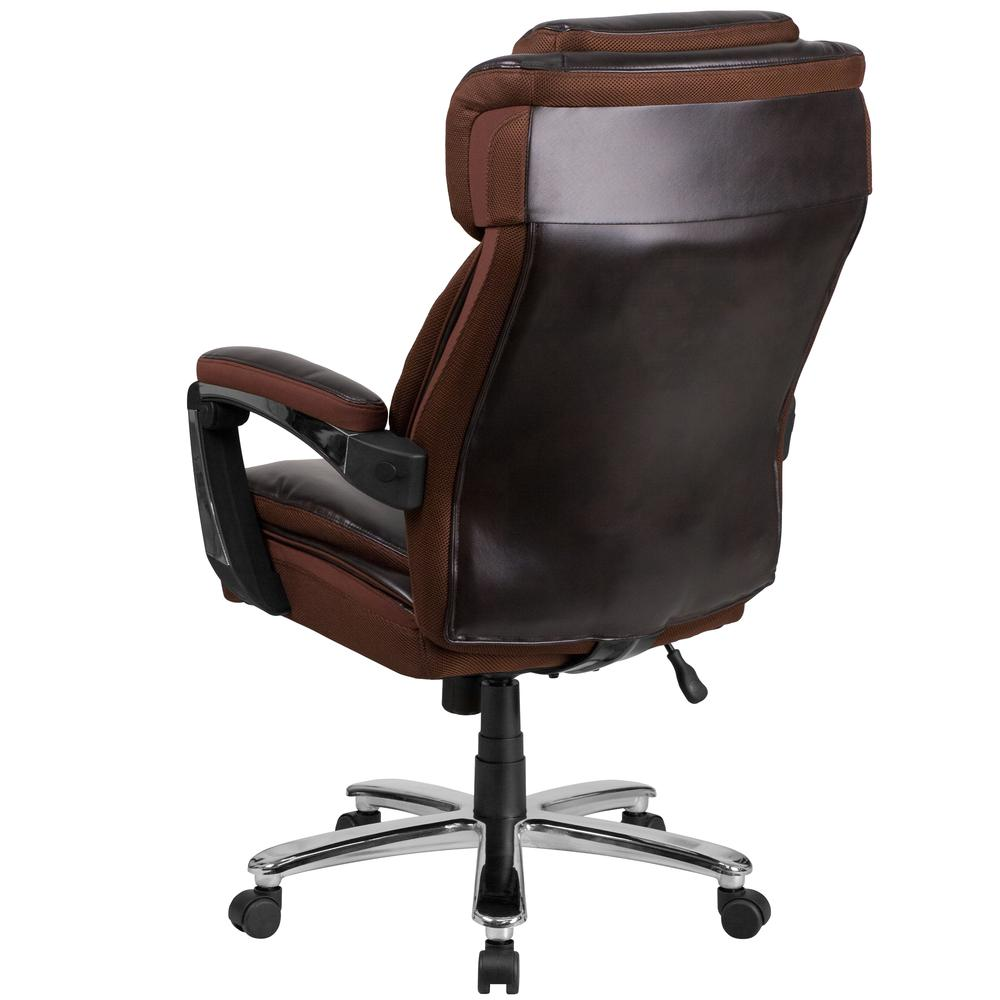 Big & Tall 500 lb. Rated Brown LeatherSoft Executive Swivel Ergonomic Office Chair with Adjustable Headrest. Picture 4