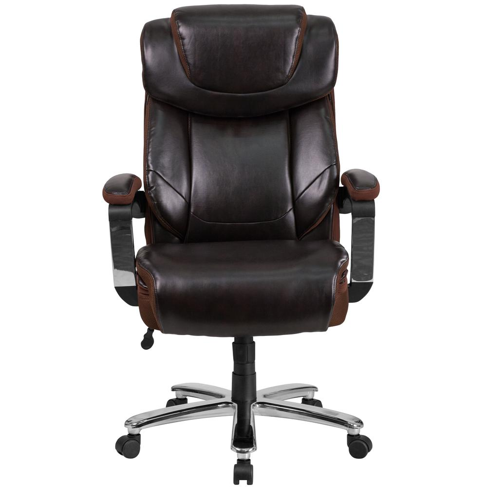 Big & Tall 500 lb. Rated Brown LeatherSoft Executive Swivel Ergonomic Office Chair with Adjustable Headrest. Picture 5