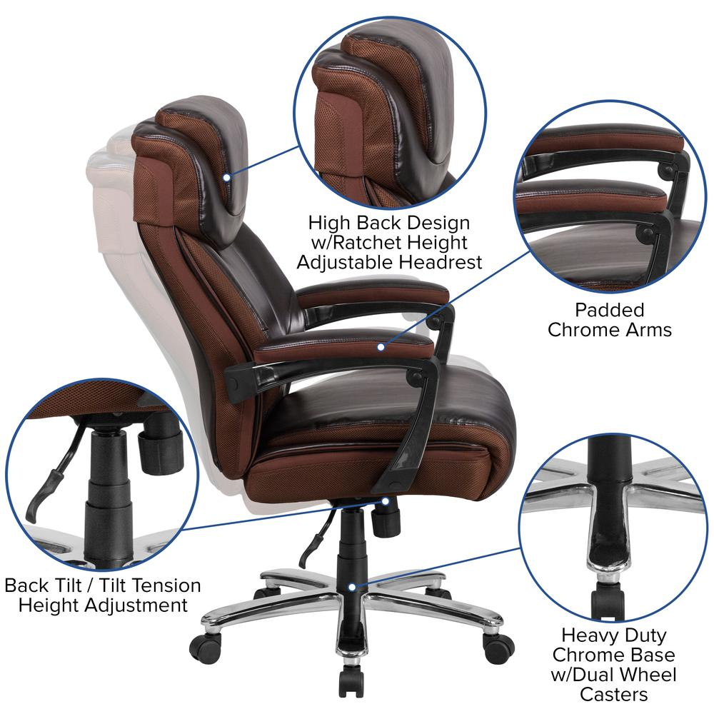 Big & Tall 500 lb. Rated Brown LeatherSoft Executive Swivel Ergonomic Office Chair with Adjustable Headrest. Picture 6