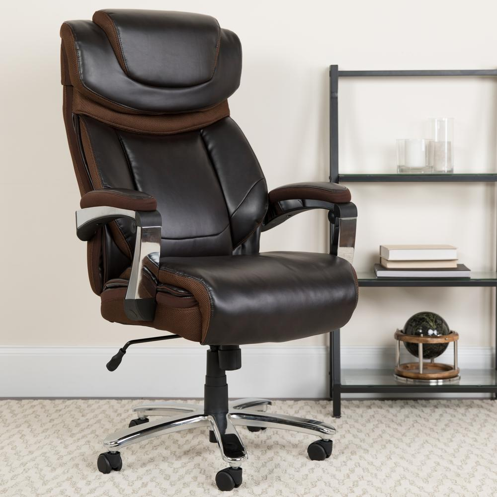 Big & Tall 500 lb. Rated Brown LeatherSoft Executive Swivel Ergonomic Office Chair with Adjustable Headrest. Picture 7