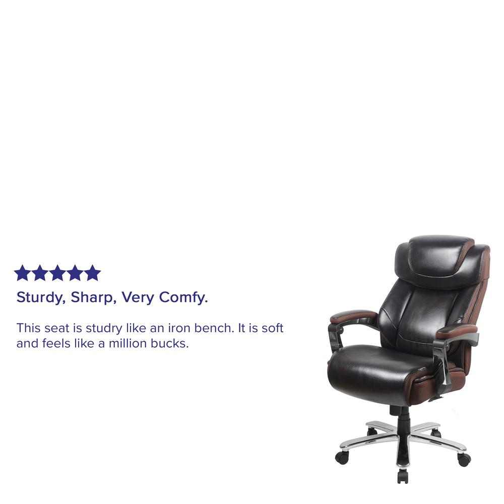 Big & Tall 500 lb. Rated Brown LeatherSoft Executive Swivel Ergonomic Office Chair with Adjustable Headrest. Picture 8