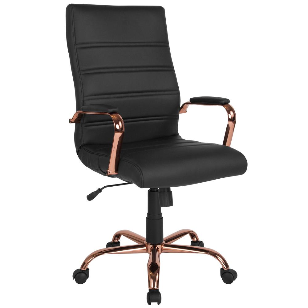 High Back Black Leather Executive Swivel Chair With Rose