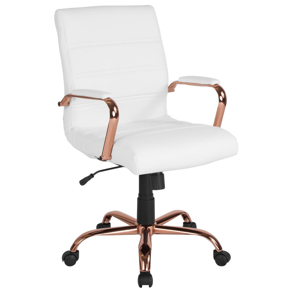 Mid Back White Leather Executive Swivel Chair With Rose