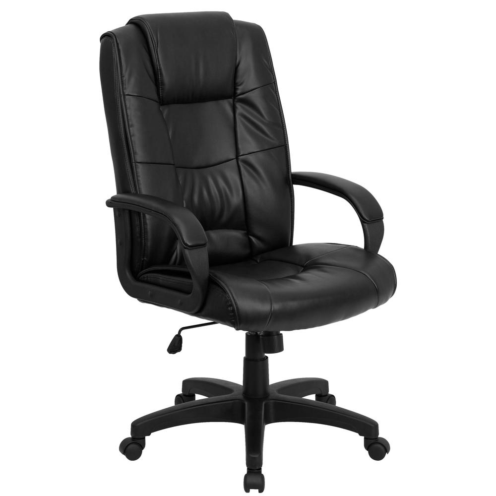 High Back Black LeatherSoft Multi-Line Stitch Upholstered Executive Swivel Office Chair with Arms. Picture 1