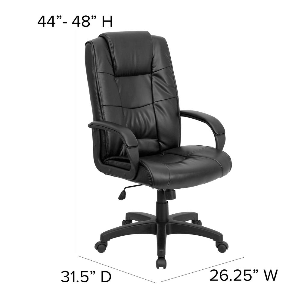 High Back Black LeatherSoft Multi-Line Stitch Upholstered Executive Swivel Office Chair with Arms. Picture 2