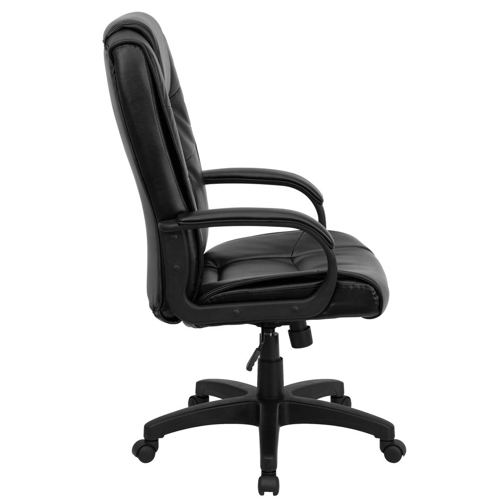 High Back Black LeatherSoft Multi-Line Stitch Upholstered Executive Swivel Office Chair with Arms. Picture 3