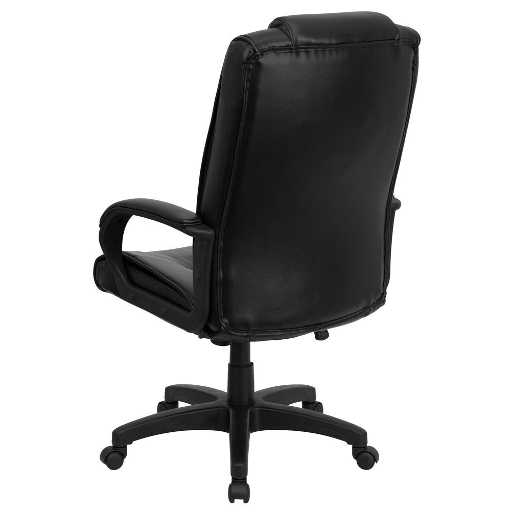 High Back Black LeatherSoft Multi-Line Stitch Upholstered Executive Swivel Office Chair with Arms. Picture 4