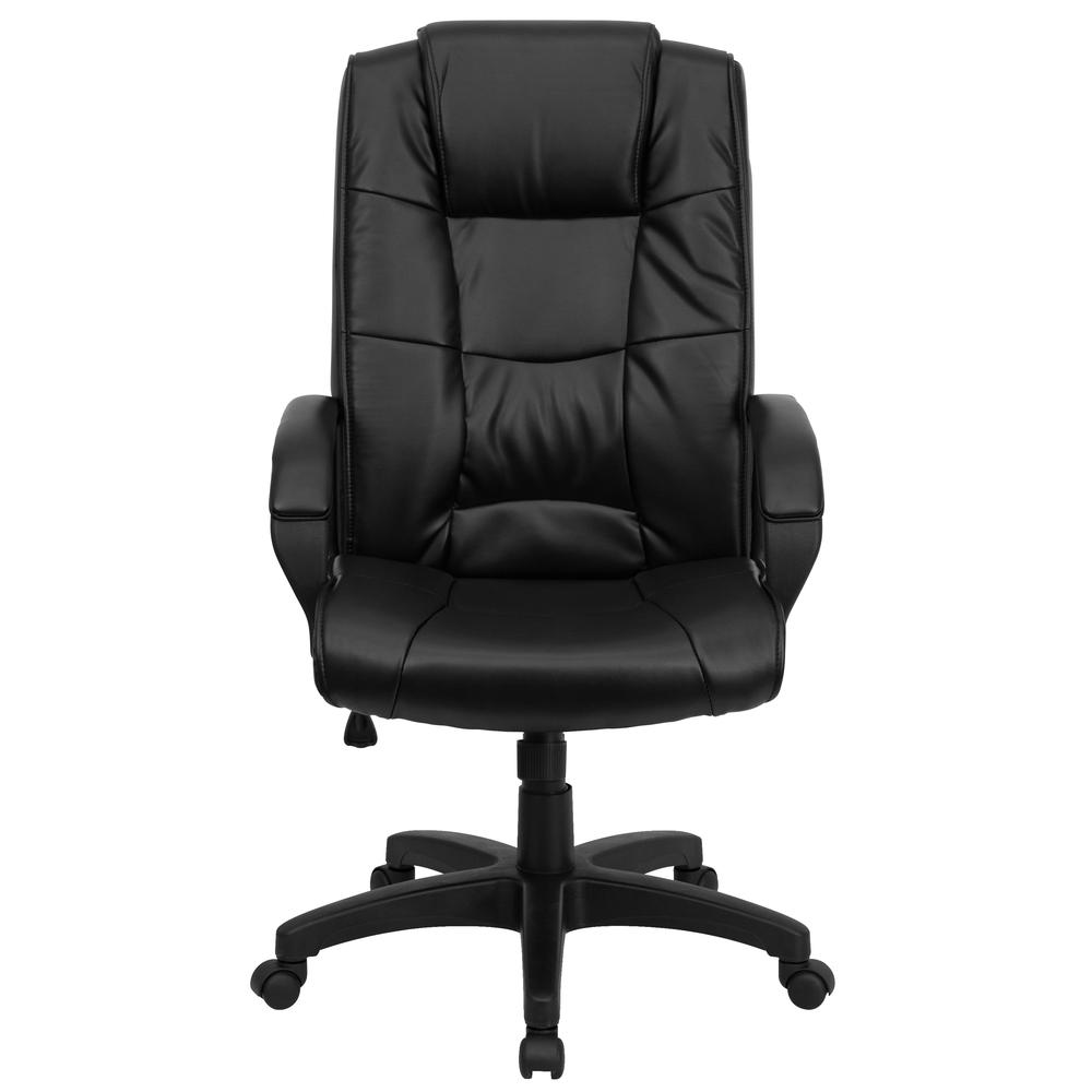 High Back Black LeatherSoft Multi-Line Stitch Upholstered Executive Swivel Office Chair with Arms. Picture 5
