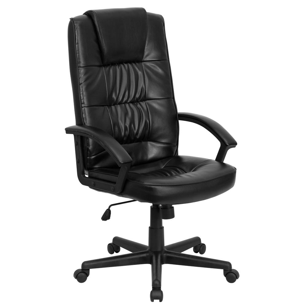 High Back Black LeatherSoft Soft Ripple Upholstered Executive Swivel Office Chair with Arms. Picture 1