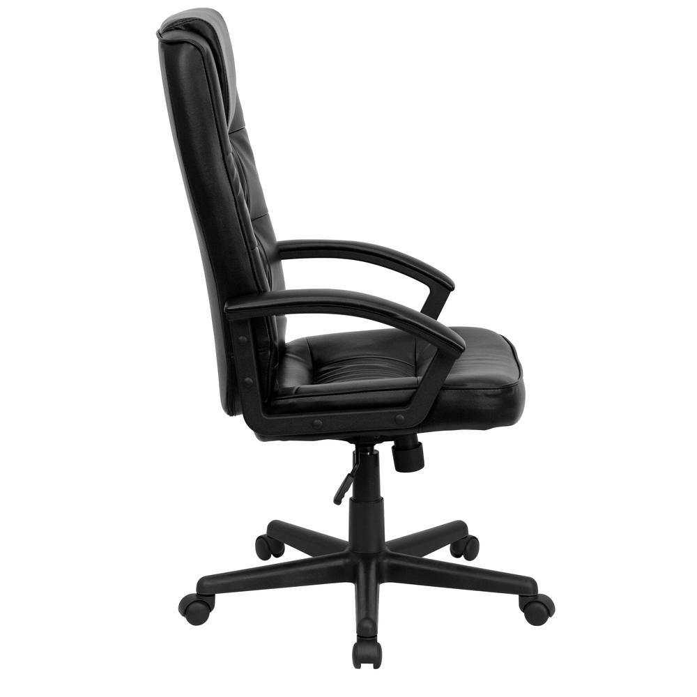 High Back Black LeatherSoft Soft Ripple Upholstered Executive Swivel Office Chair with Arms. Picture 2