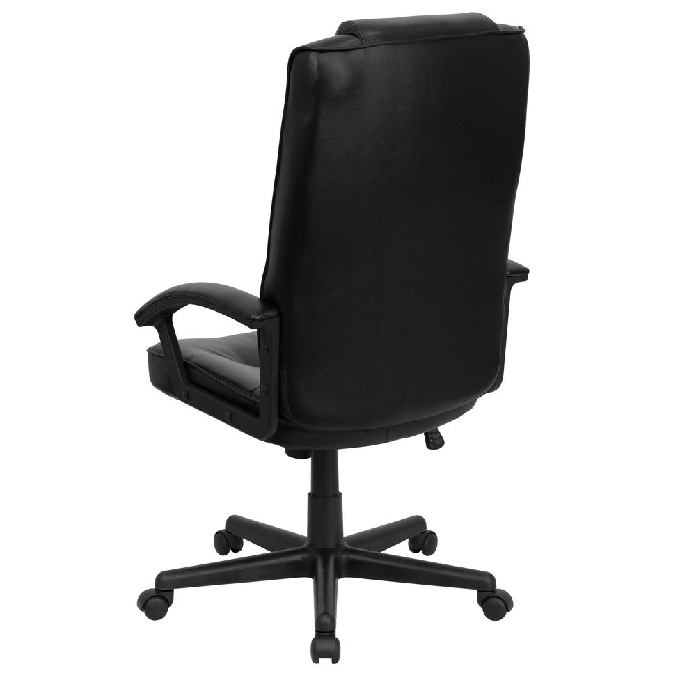 High Back Black LeatherSoft Soft Ripple Upholstered Executive Swivel Office Chair with Arms. Picture 3