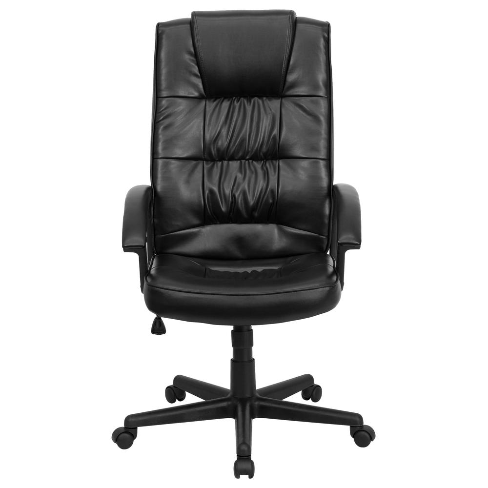 High Back Black LeatherSoft Soft Ripple Upholstered Executive Swivel Office Chair with Arms. Picture 4