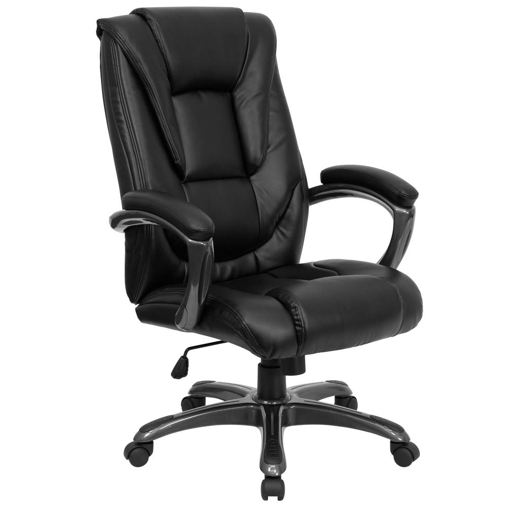 High Back Black LeatherSoft Layered Upholstered Executive Swivel Ergonomic Office Chair with Smoke Metal Base and Arms. Picture 1