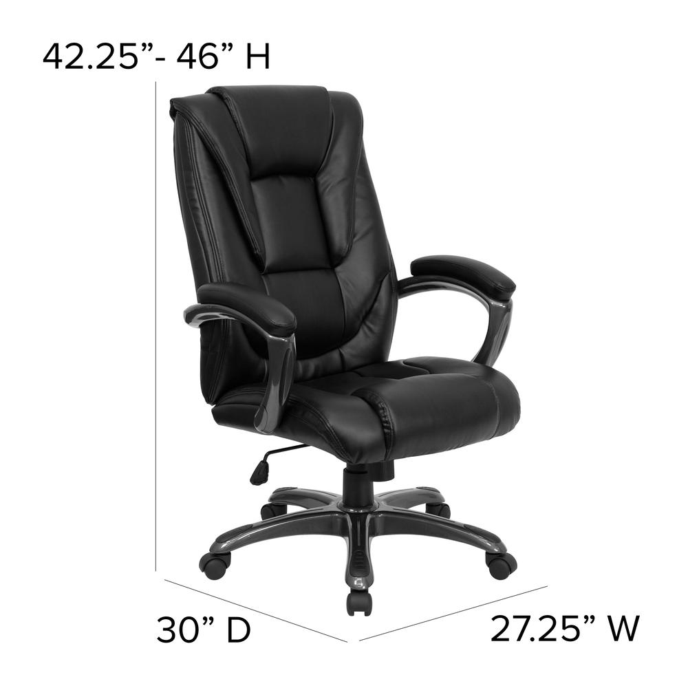 High Back Black LeatherSoft Layered Upholstered Executive Swivel Ergonomic Office Chair with Smoke Metal Base and Arms. Picture 2
