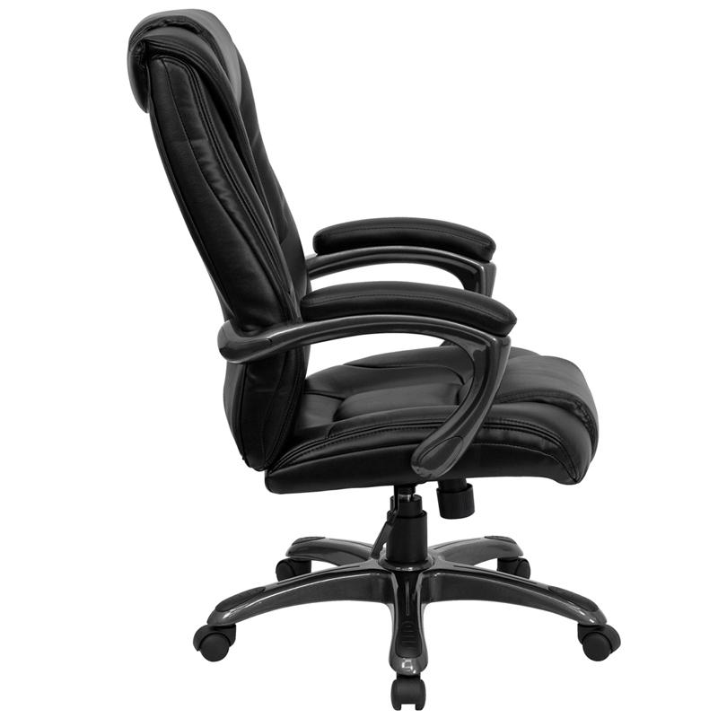 High Back Black LeatherSoft Layered Upholstered Executive Swivel Ergonomic Office Chair with Smoke Metal Base and Arms. Picture 3