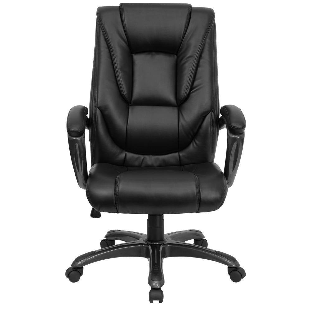 High Back Black LeatherSoft Layered Upholstered Executive Swivel Ergonomic Office Chair with Smoke Metal Base and Arms. Picture 5