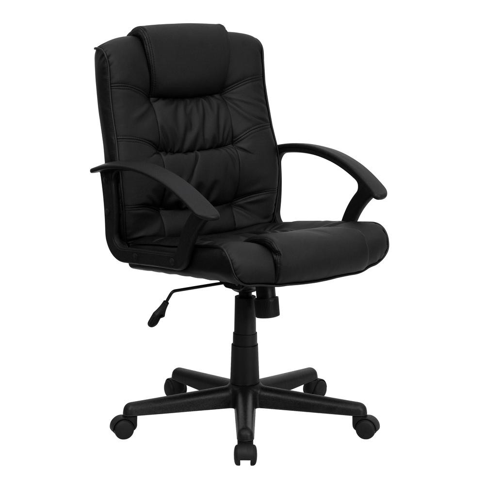 Mid-Back Black LeatherSoft Ripple and Accent Stitch Upholstered Swivel Task Office Chair with Arms. Picture 1