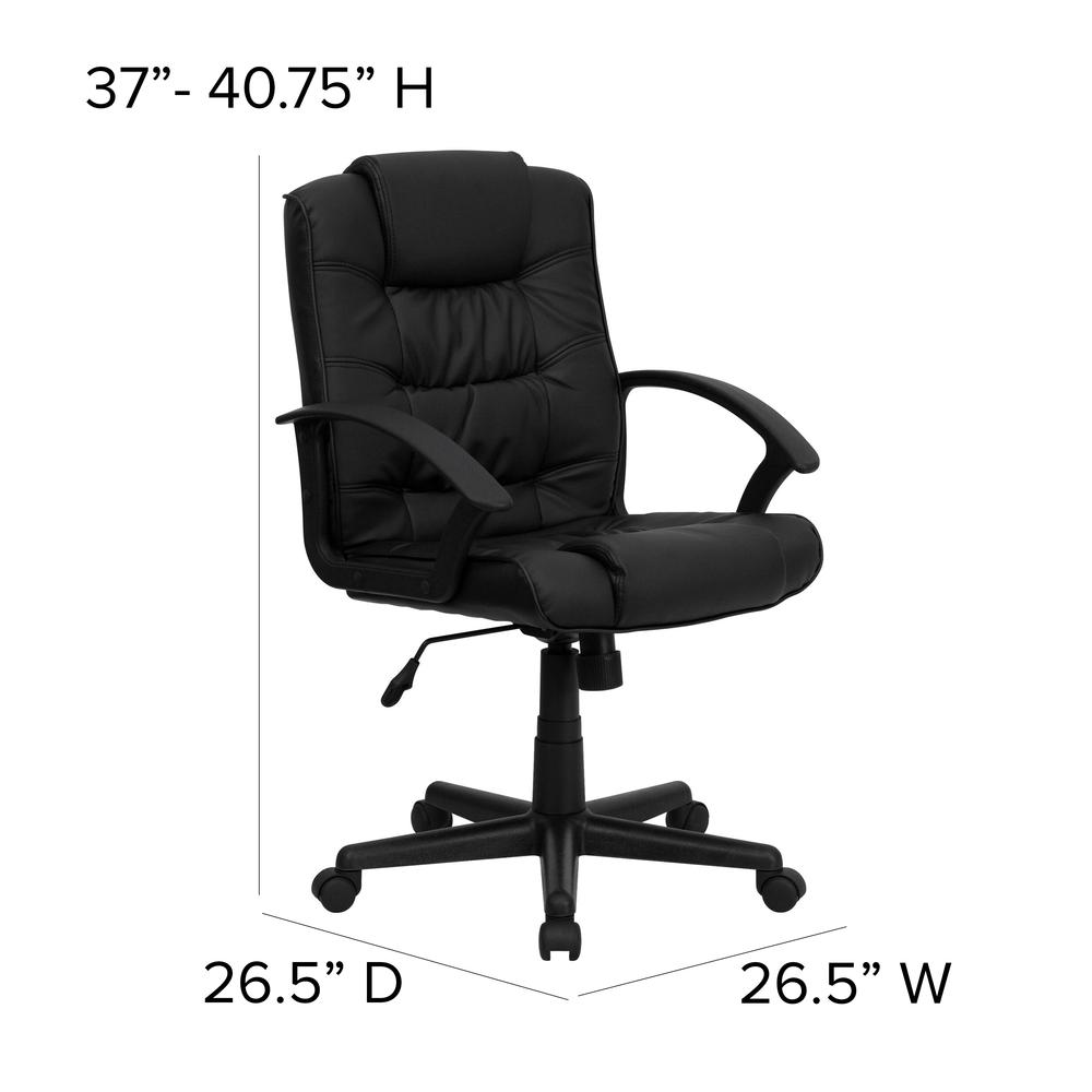Mid-Back Black LeatherSoft Ripple and Accent Stitch Upholstered Swivel Task Office Chair with Arms. Picture 2
