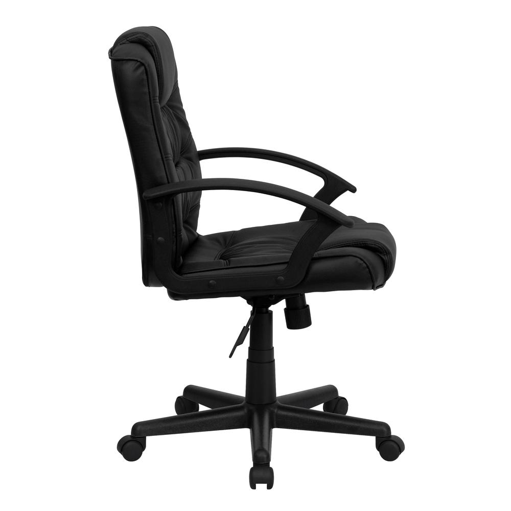 Mid-Back Black LeatherSoft Ripple and Accent Stitch Upholstered Swivel Task Office Chair with Arms. Picture 3