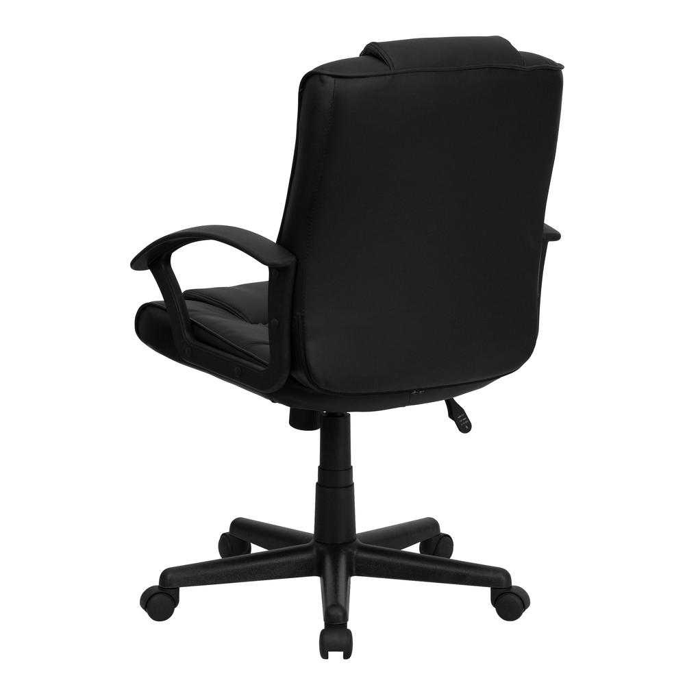 Mid-Back Black LeatherSoft Ripple and Accent Stitch Upholstered Swivel Task Office Chair with Arms. Picture 4