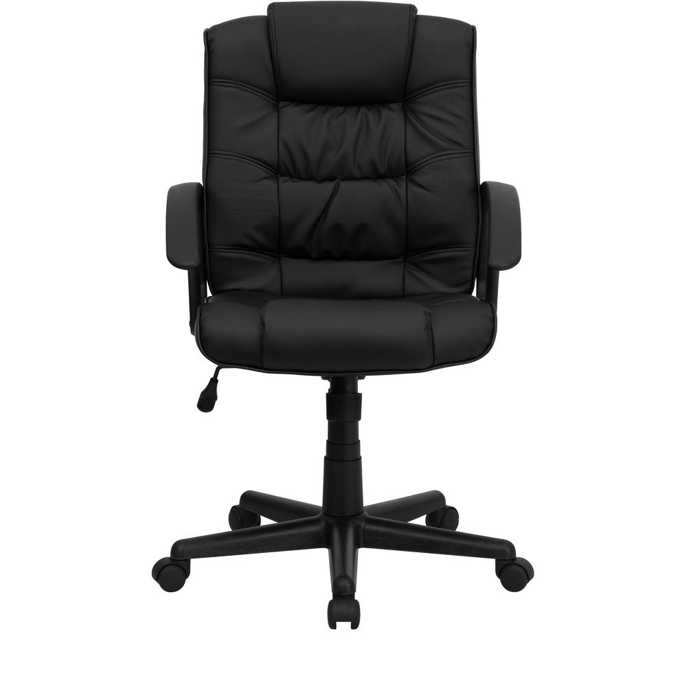 Mid-Back Black LeatherSoft Ripple and Accent Stitch Upholstered Swivel Task Office Chair with Arms. Picture 5