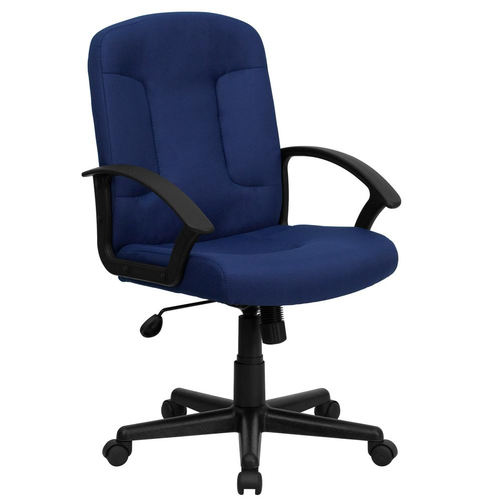 Mid-Back Navy Fabric Executive Swivel Office Chair with Nylon Arms. Picture 1