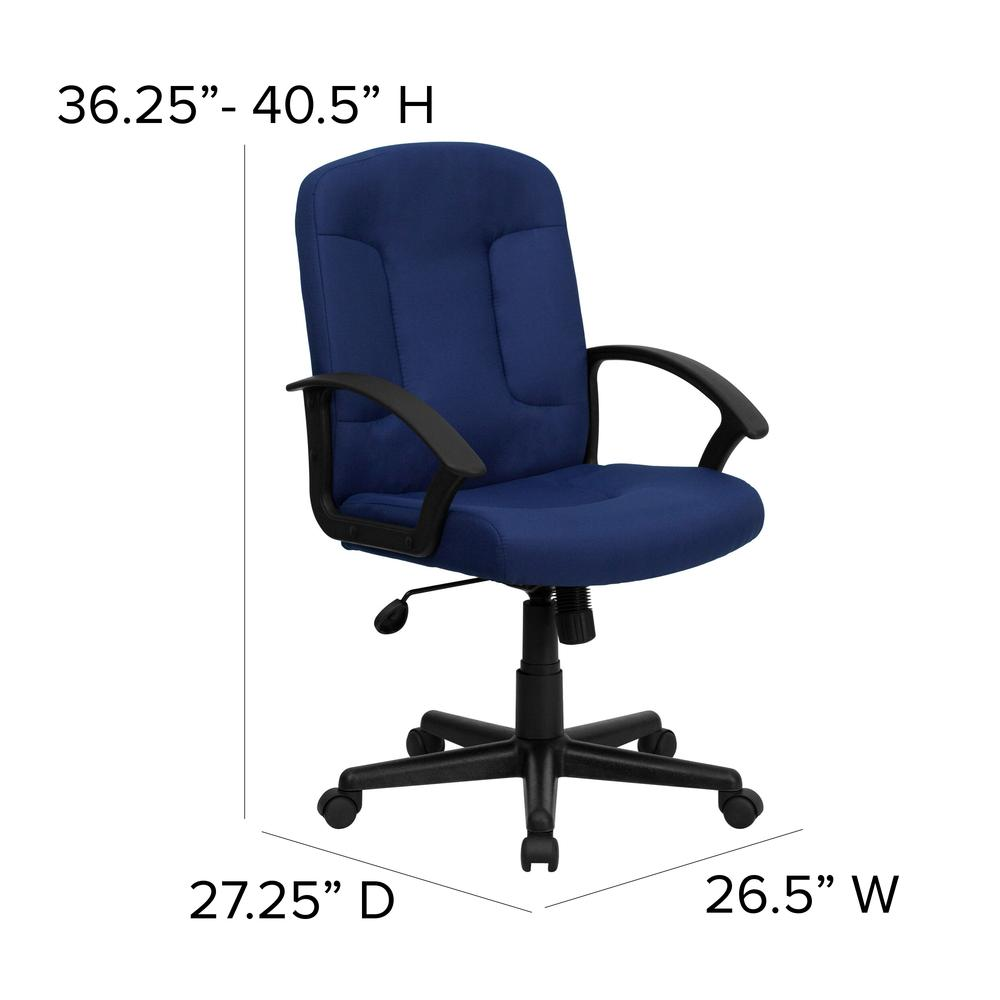 Mid-Back Navy Fabric Executive Swivel Office Chair with Nylon Arms. Picture 2