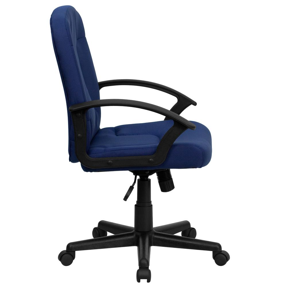 Mid-Back Navy Fabric Executive Swivel Office Chair with Nylon Arms. Picture 3