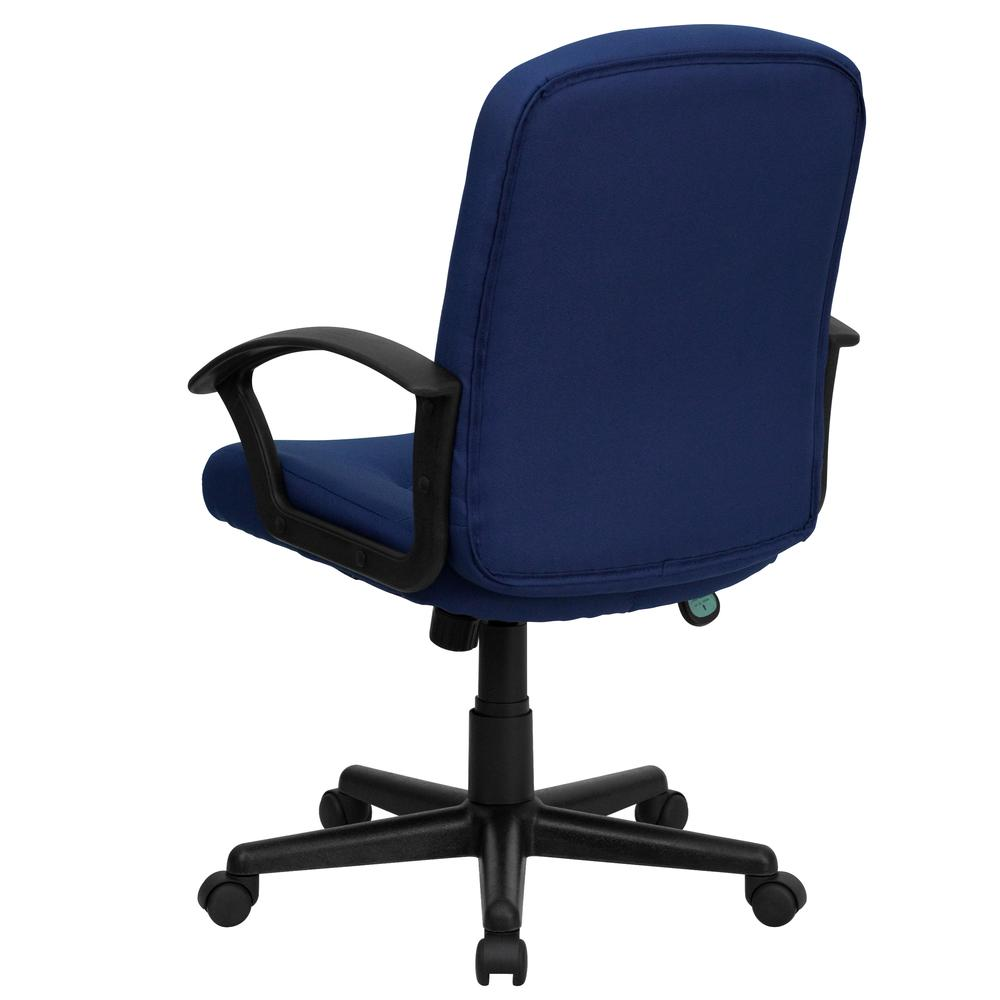 Mid-Back Navy Fabric Executive Swivel Office Chair with Nylon Arms. Picture 4