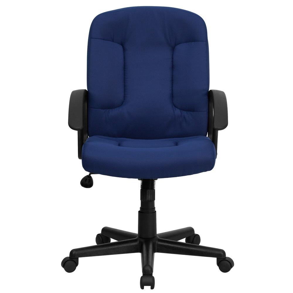 Mid-Back Navy Fabric Executive Swivel Office Chair with Nylon Arms. Picture 5