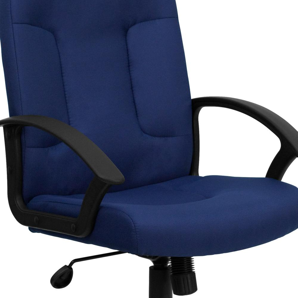 Mid-Back Navy Fabric Executive Swivel Office Chair with Nylon Arms. Picture 6