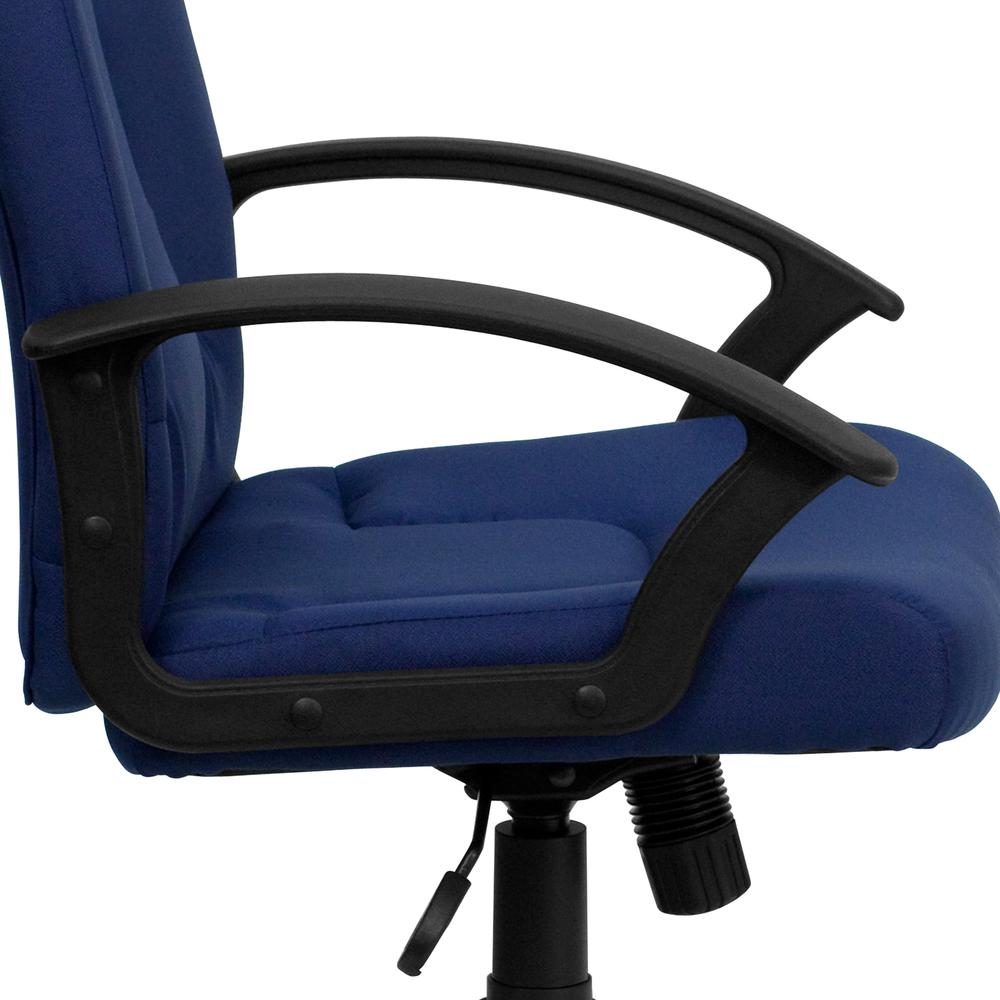 Mid-Back Navy Fabric Executive Swivel Office Chair with Nylon Arms. Picture 7