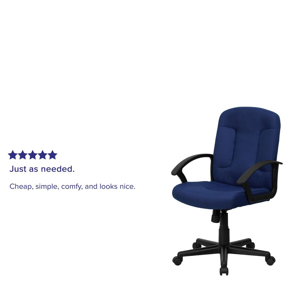 Mid-Back Navy Fabric Executive Swivel Office Chair with Nylon Arms. Picture 8