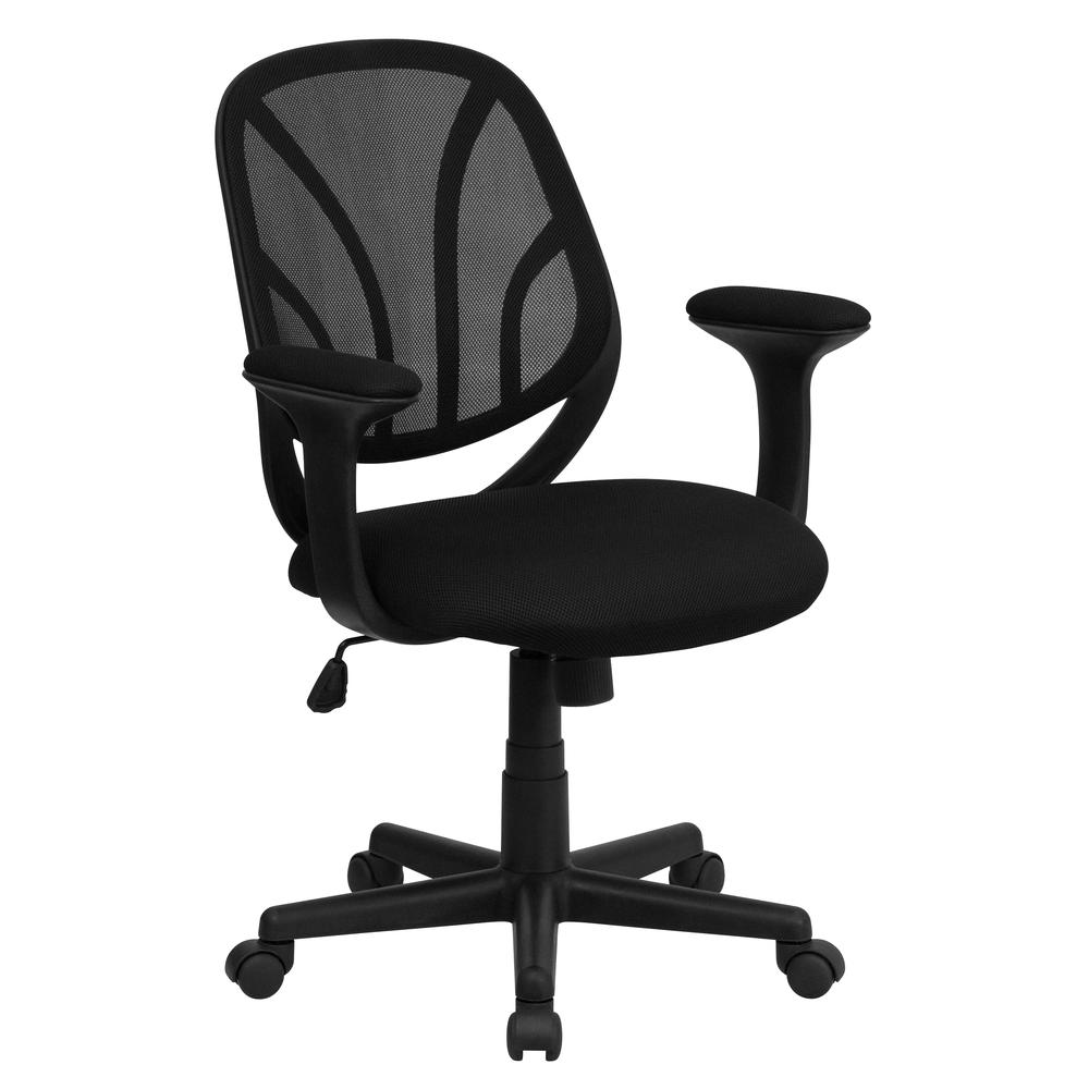Y-GO Office Chair™ Mid-Back Black Mesh Swivel Task Office Chair with Arms. Picture 1