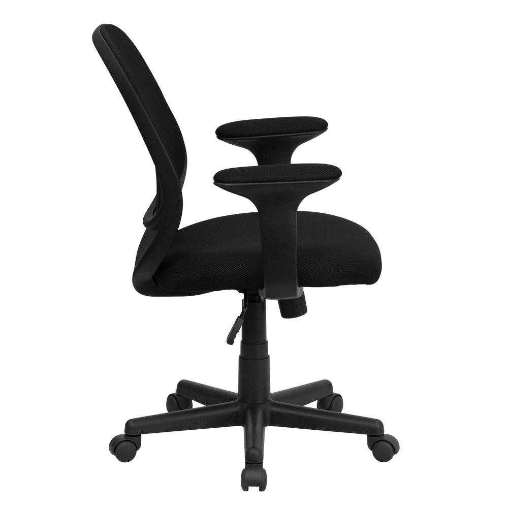 Y-GO Office Chair™ Mid-Back Black Mesh Swivel Task Office Chair with Arms. Picture 2