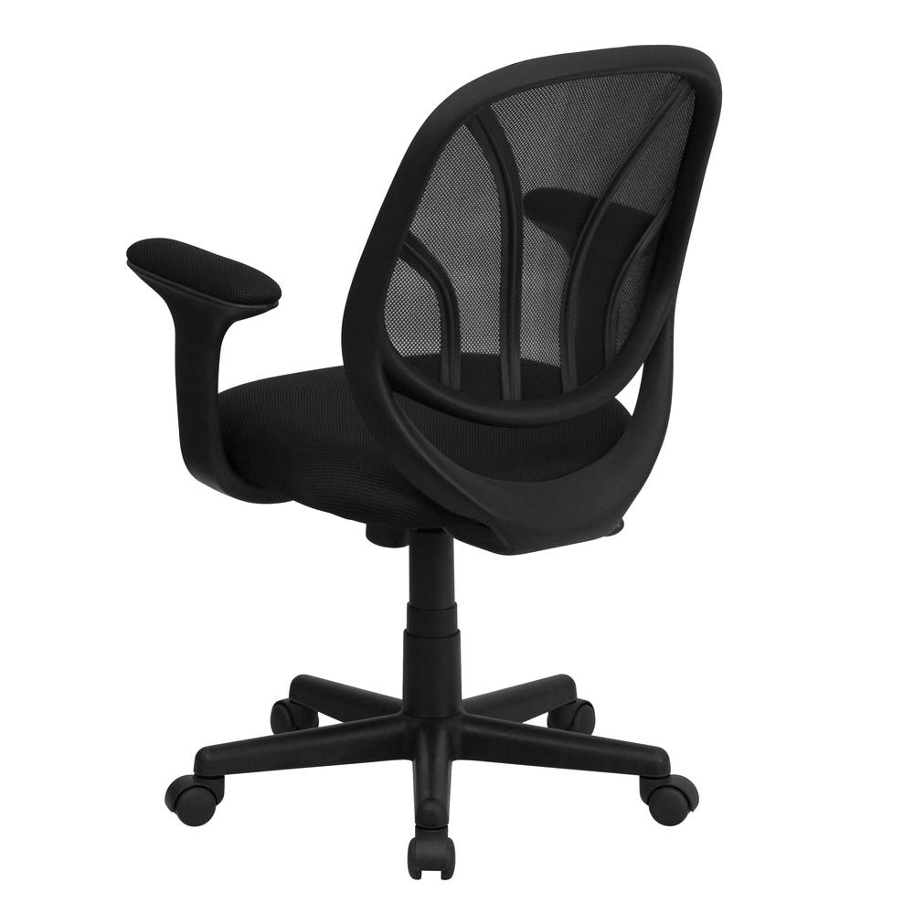 Y-GO Office Chair™ Mid-Back Black Mesh Swivel Task Office Chair with Arms. Picture 3