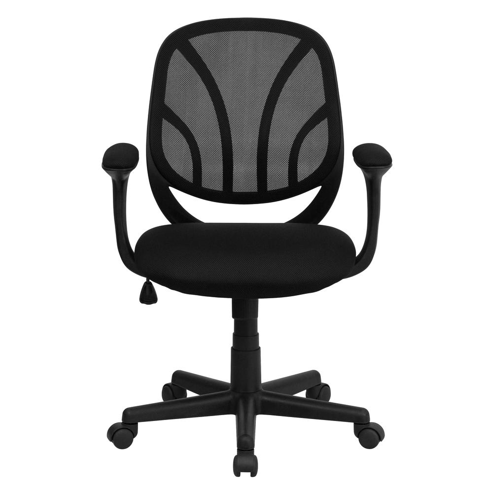 Y-GO Office Chair™ Mid-Back Black Mesh Swivel Task Office Chair with Arms. Picture 4