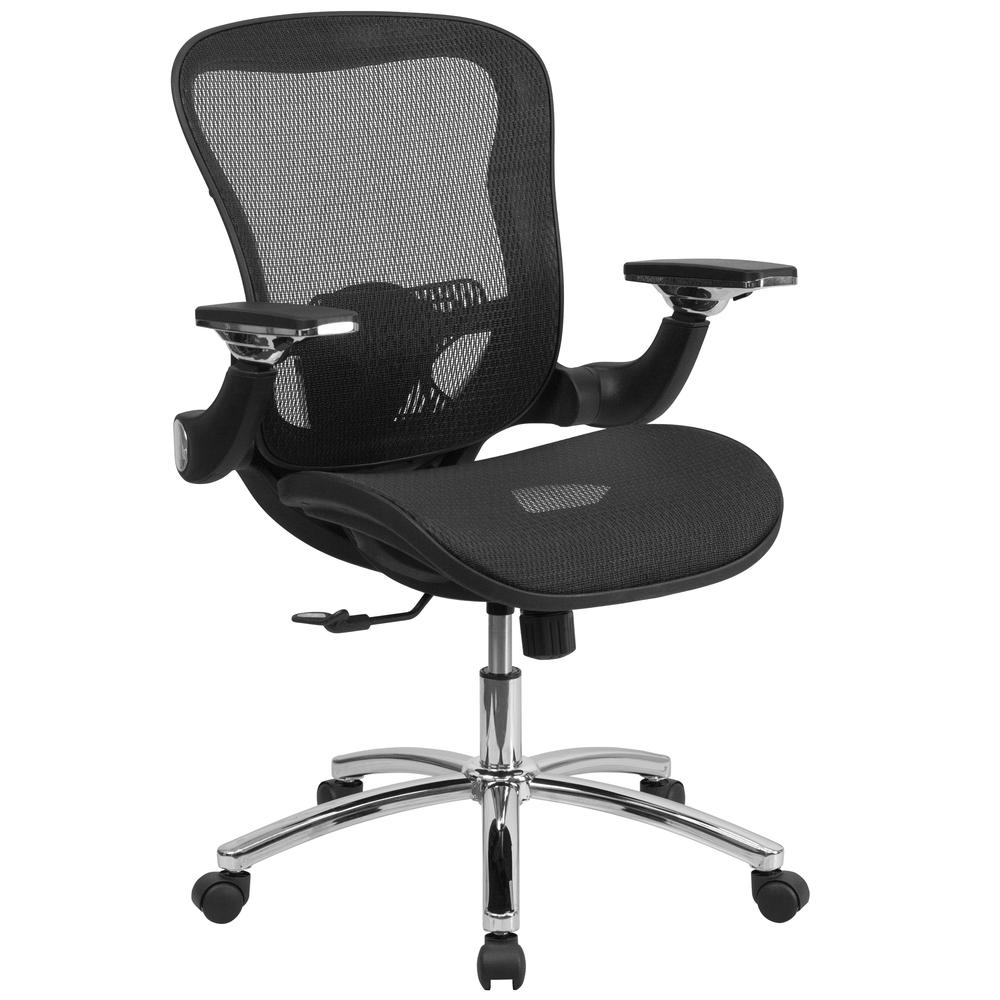 Mid-Back Transparent Black Mesh Executive Swivel Ergonomic Office Chair with Synchro-Tilt & Height Adjustable Flip-Up Arms. Picture 1