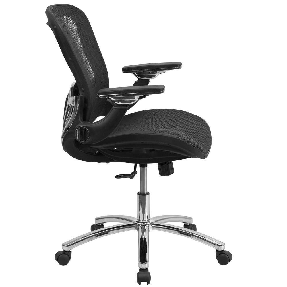 Mid-Back Transparent Black Mesh Executive Swivel Ergonomic Office Chair with Synchro-Tilt & Height Adjustable Flip-Up Arms. Picture 2