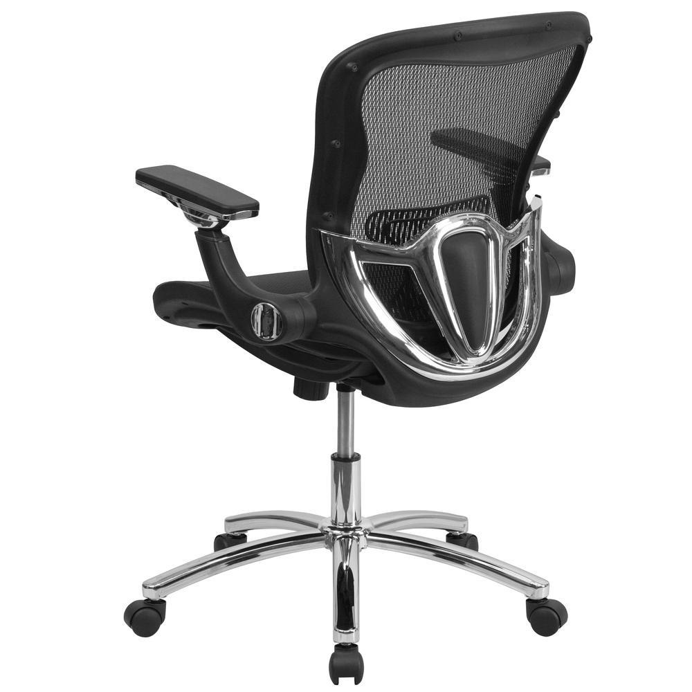Mid-Back Transparent Black Mesh Executive Swivel Ergonomic Office Chair with Synchro-Tilt & Height Adjustable Flip-Up Arms. Picture 3