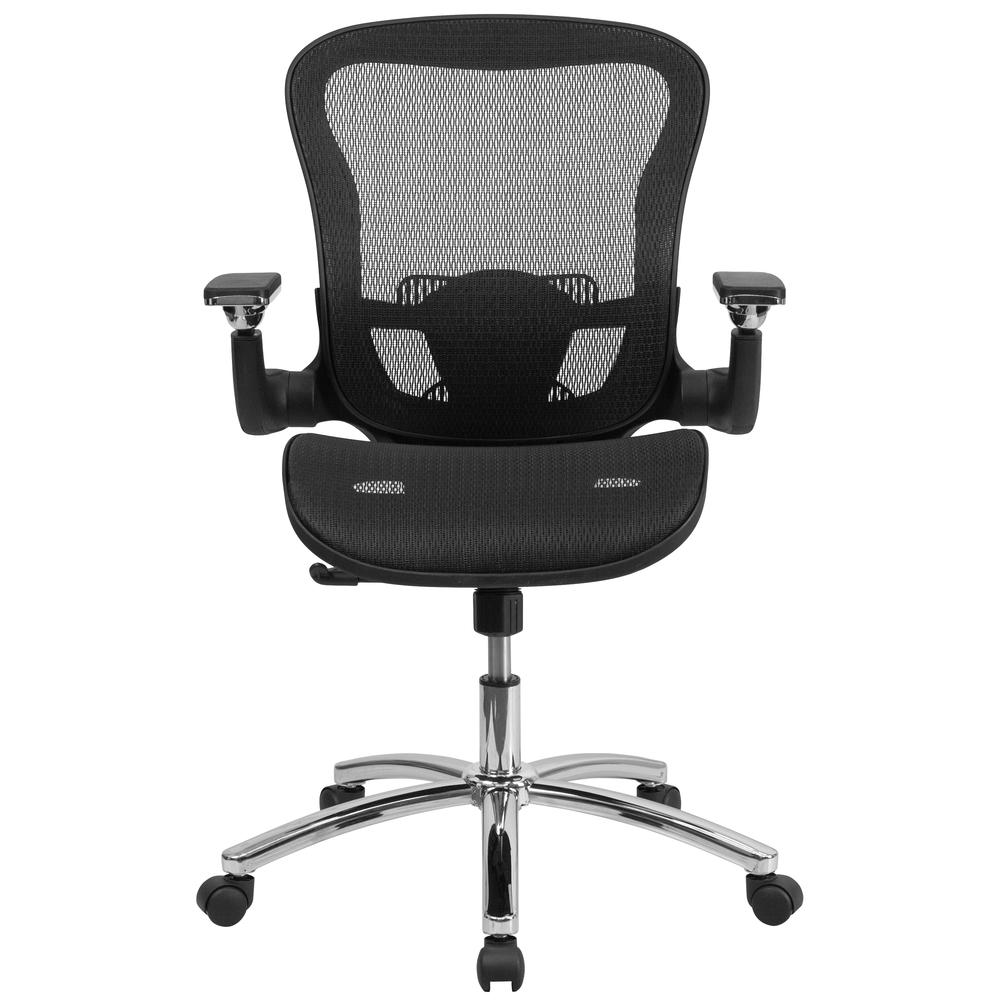 Mid-Back Transparent Black Mesh Executive Swivel Ergonomic Office Chair with Synchro-Tilt & Height Adjustable Flip-Up Arms. Picture 4