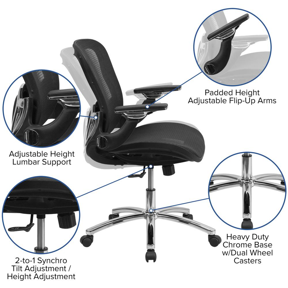 Mid-Back Transparent Black Mesh Executive Swivel Ergonomic Office Chair with Synchro-Tilt & Height Adjustable Flip-Up Arms. Picture 5