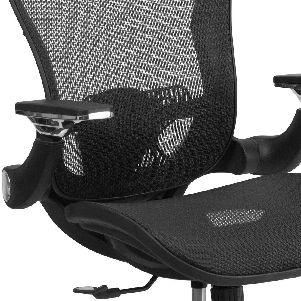 Mid-Back Transparent Black Mesh Executive Swivel Ergonomic Office Chair with Synchro-Tilt & Height Adjustable Flip-Up Arms. Picture 6