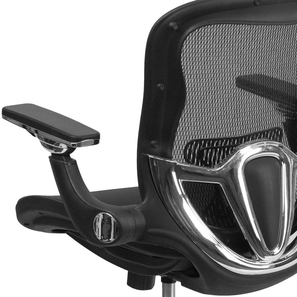 Mid-Back Transparent Black Mesh Executive Swivel Ergonomic Office Chair with Synchro-Tilt & Height Adjustable Flip-Up Arms. Picture 7