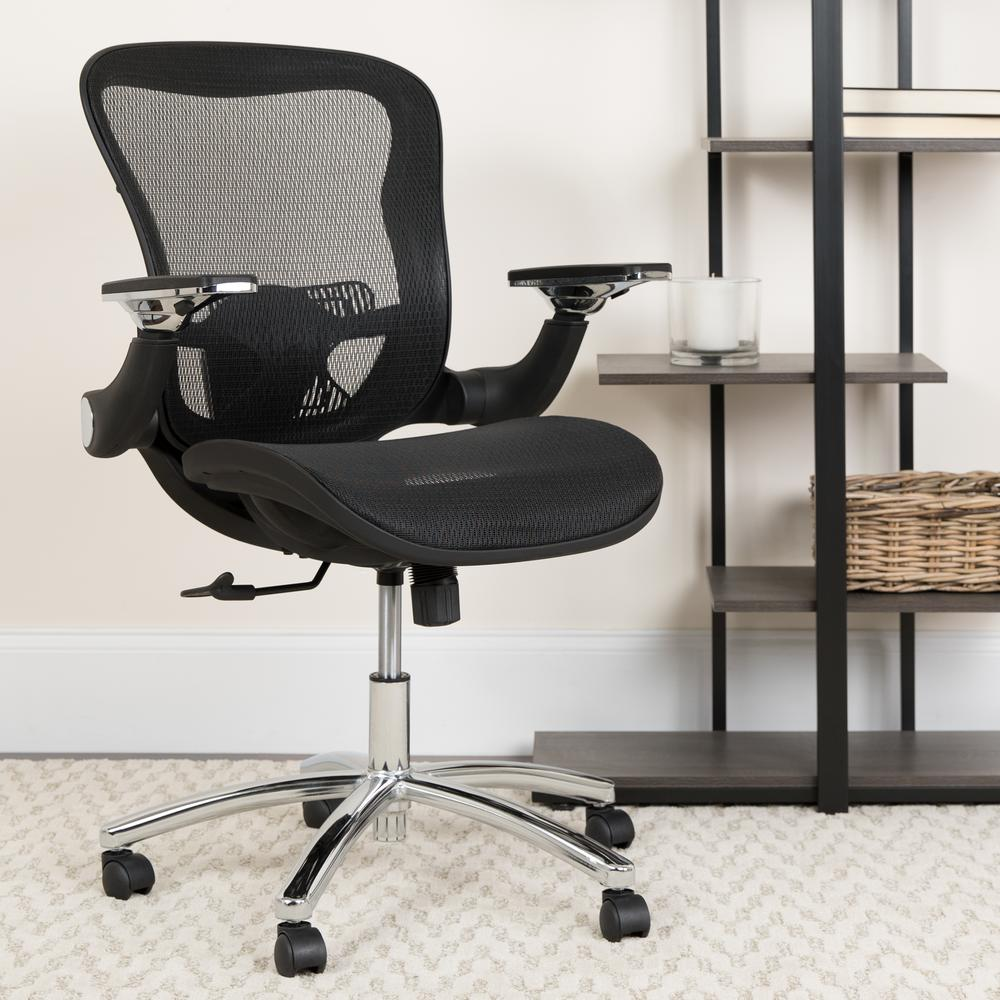 Mid-Back Transparent Black Mesh Executive Swivel Ergonomic Office Chair with Synchro-Tilt & Height Adjustable Flip-Up Arms. Picture 9