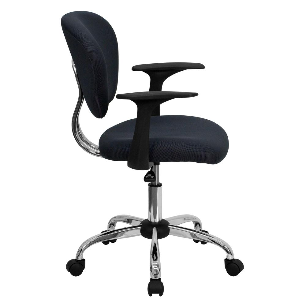 Mid-Back Gray Mesh Padded Swivel Task Office Chair with Chrome Base and Arms. Picture 2