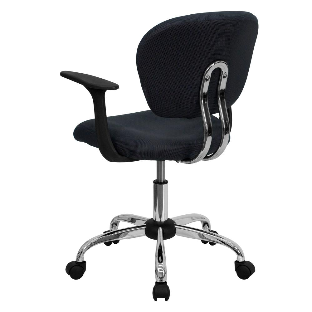 Mid-Back Gray Mesh Padded Swivel Task Office Chair with Chrome Base and Arms. Picture 3