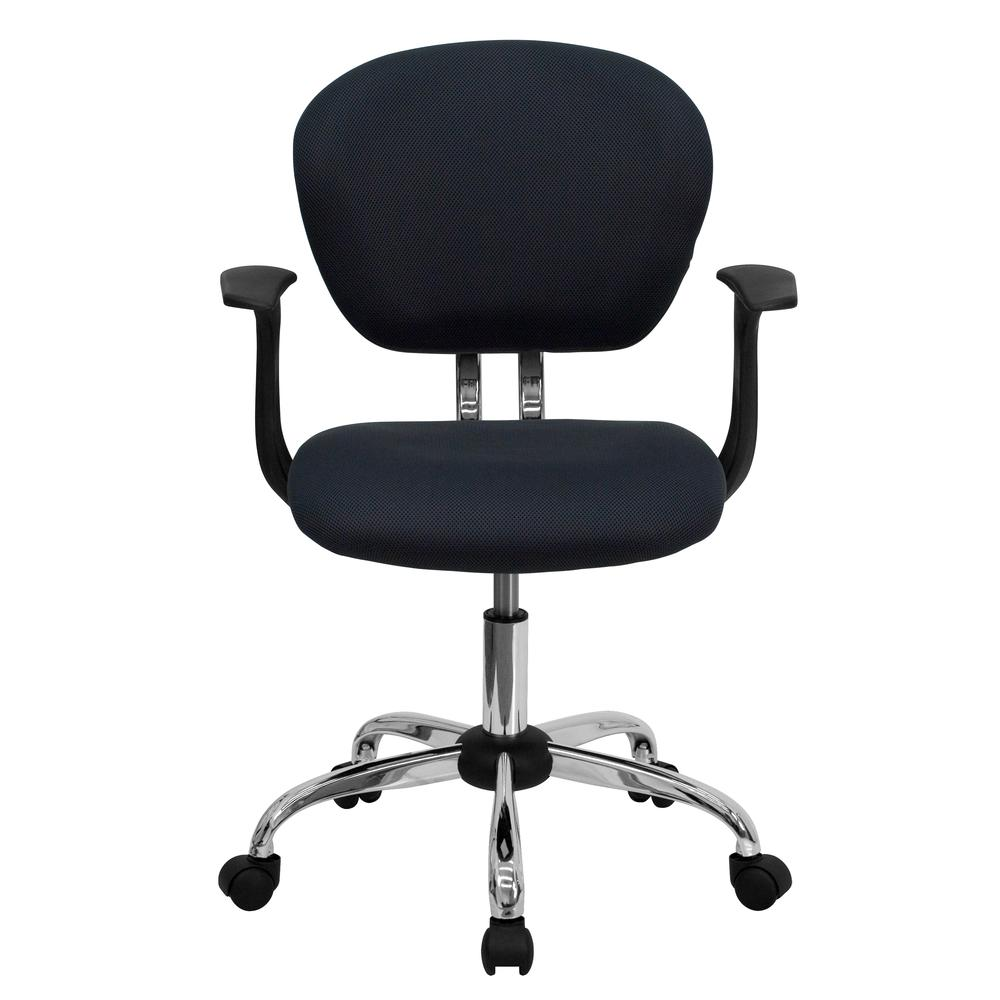 Mid-Back Gray Mesh Padded Swivel Task Office Chair with Chrome Base and Arms. Picture 4